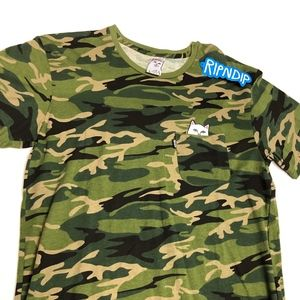 Rip N Dip camo pocket nermal flipping off tee